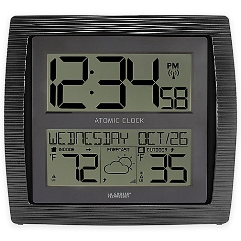 La crosse technology curved atomic wall clock with inoutdoor la crosse technology curved atomic wall clock with inoutdoor temperature in black gumiabroncs Choice Image