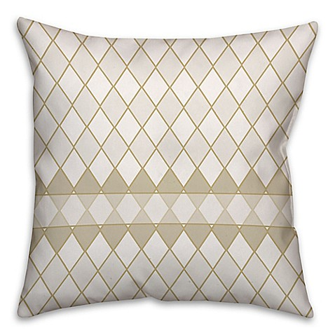Square Throw Pillow Pattern : Diamond Pattern Square Throw Pillow in Cream/White - Bed Bath & Beyond
