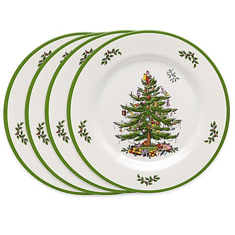 Spodeu0026reg; Christmas Tree Melamine Dinner Plates (Set ...  sc 1 st  Bed Bath u0026 Beyond & Spode® Christmas Tree Melamine Dinner Plates (Set of 4) - Bed Bath ...