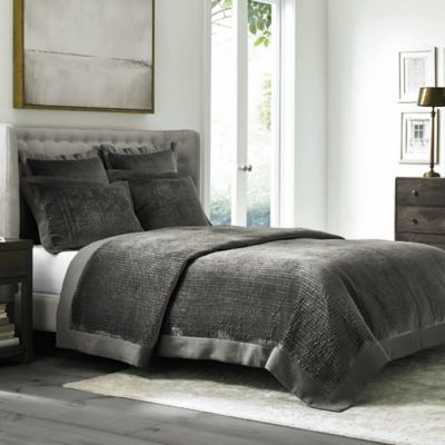 image of Wamsutta® Collection Velvet Coverlet in Grey