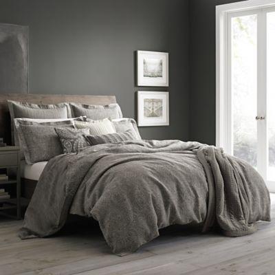 Wamsutta 174 Vintage Paisley Linen Duvet Cover In Grey