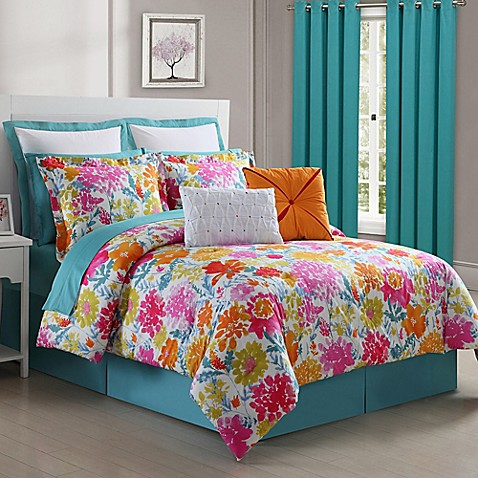 Fiesta Garden Reversible Comforter Set In Turquoise Yellow