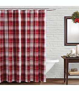 Cortina de baño a cuadros en rojo