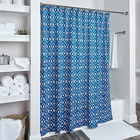buy rizzy home ikat shower curtain in blue from bed bath