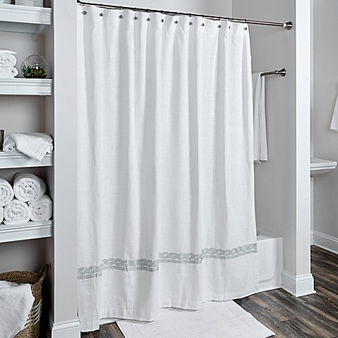 Buy Rizzy Home Cable Embroidered Shower Curtain In White Silver From Bed Bath Beyond