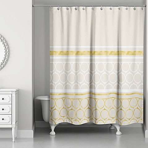 Rings Weighted Shower Curtain In Ivory Gold Bed Bath