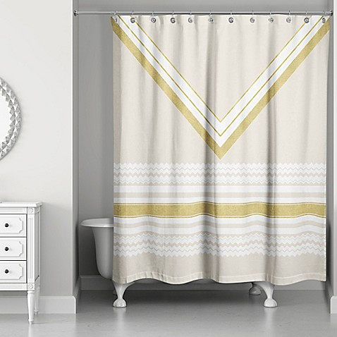 Chevron Layer Shower Curtain In Ivory Gold Bed Bath Beyond