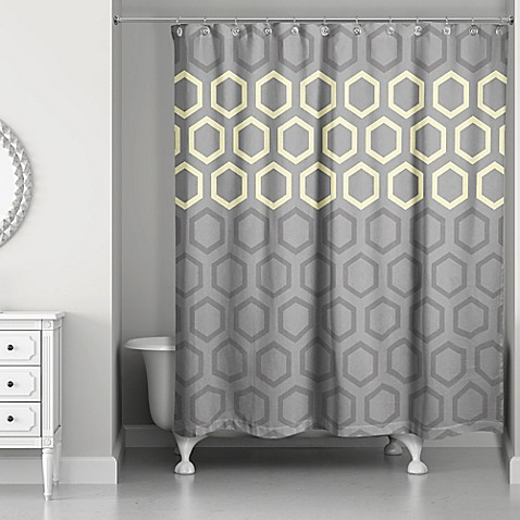 hexagonal shower curtain in yellow grey bed bath beyond. Black Bedroom Furniture Sets. Home Design Ideas
