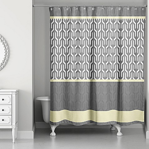Trident Pattern Shower Curtain In Yellow Grey