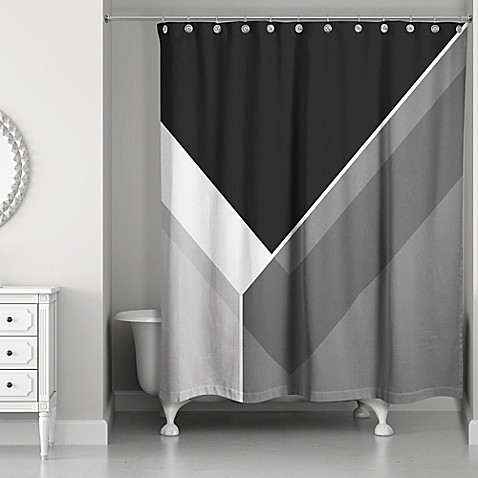 Asymmetrical Color Block Shower Curtain In Black Grey Bed Bath Beyond