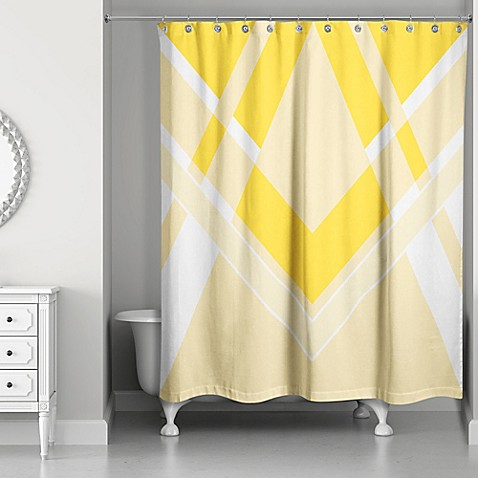 Inversed Bold Triangle Shower Curtain in Yellow White