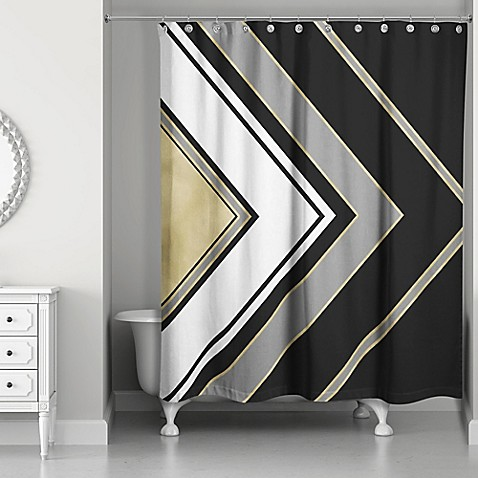 Arrow Shower Curtain In Black Gold White Grey Bed Bath Beyond