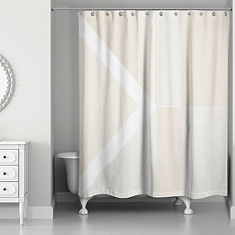 Inversed Color Blocking Shower Curtain In Ivory White Bed Bath Beyond