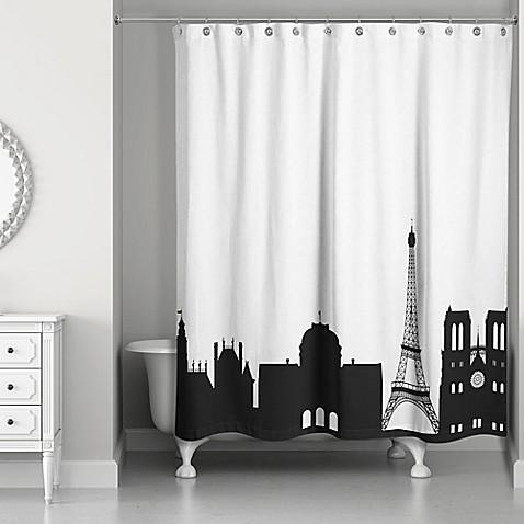 Paris Monuments Shower Curtain In Black White Bed Bath Amp Beyond