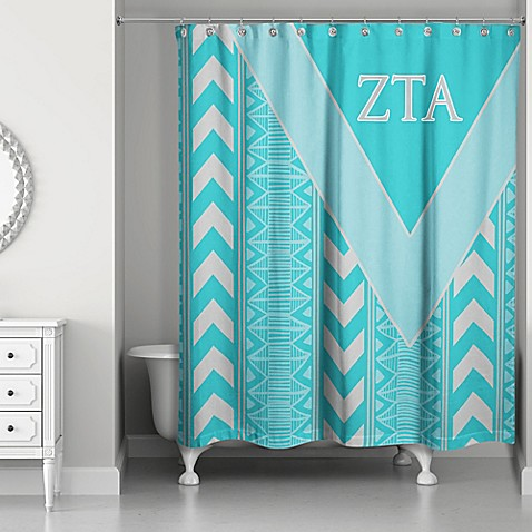 Zeta Tau Alpha Shower Curtain In Teal Grey Bed Bath Beyond