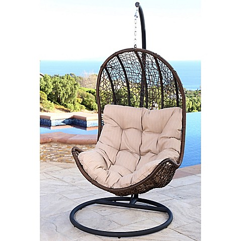 Image Of Abbyson Living® Newport Outdoor Wicker Egg Shaped Swing Chair In  Brown/