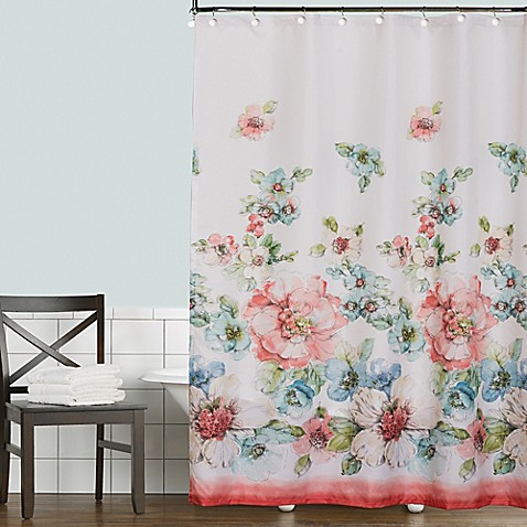 Coral Watercolor Shower Curtain