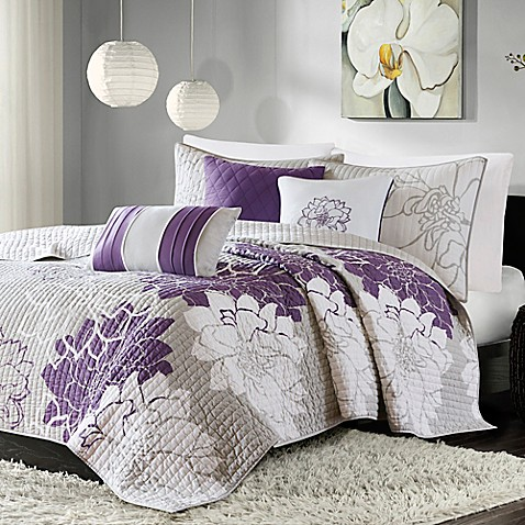 Madison Park Lola 6 Piece Coverlet Set In Grey Purple