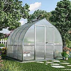image of Palram Bella Hobby 8-Foot x 8-Foot Greenhouse in Silver