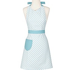 image of Polka Dot Apron in Teal/White