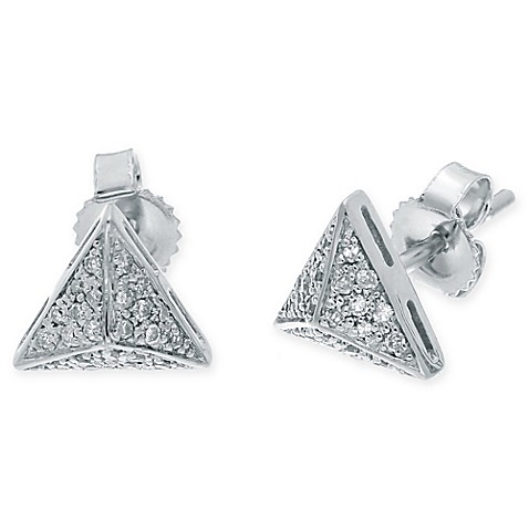 pyramid studs earrings buy 10k white gold 13 cttw pyramid stud earrings 7320