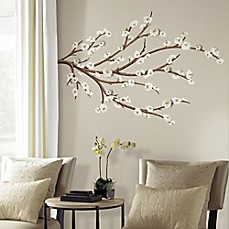 Image Of White Blossom Branch Peel And Stick Giant Wall Decals With 3D  Embellishments