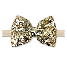 image of Elly & Emmy Sequin Bow Headwrap in Gold/Ivory