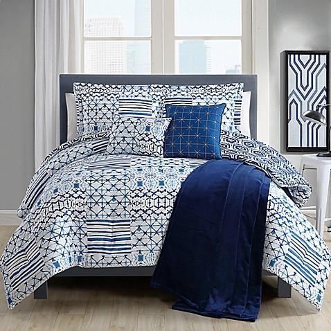 kiko comforter set in blue white bed bath beyond. Black Bedroom Furniture Sets. Home Design Ideas