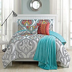 image of Gabina Comforter Set in Aqua/Ivory