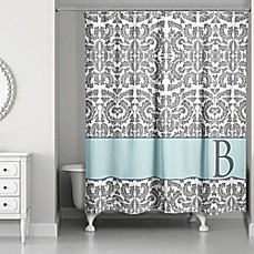 image of Botanical Leaves Shower Curtain in Grey/Blue