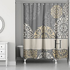 image of Medallions Shower Curtain in Grey/Taupe/Gold