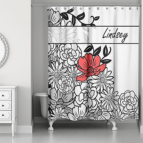 Graphic Line Flowers Shower Curtain in White/Black/Red - Bed Bath ...