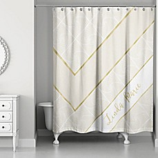 image of geo custom shower curtain in ivorygold