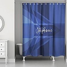 Image Of Geo Custom Shower Curtain In Navy