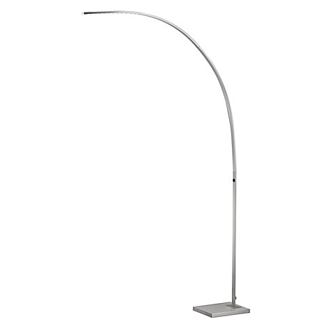 Adesso 174 Sonic Led Arc Floor Lamp In Satin Steel Bed Bath