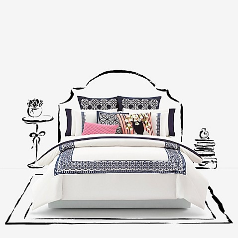 buy kate spade new york folk art full queen duvet cover in navy from bed bath beyond. Black Bedroom Furniture Sets. Home Design Ideas