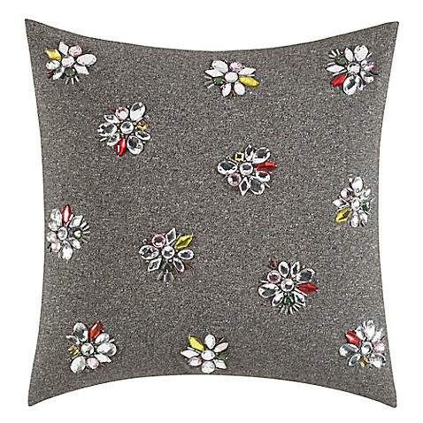 kate spade new york Clustered Gem Square Throw Pillow in Charcoal - Bed Bath & Beyond