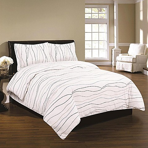 Tribeca Living Printed Flannel Duvet Cover Set In White