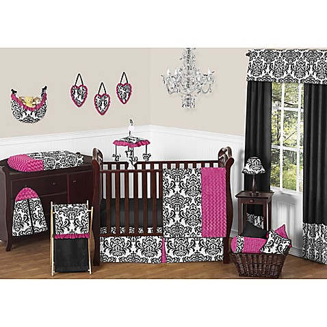 Isabella Hot Pink Black And White Crib Bedding Collection