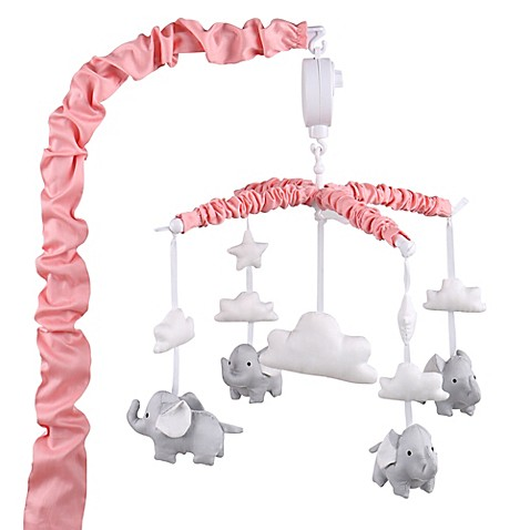 The peanut shell elephant musical mobile in coral grey for Baby mobile pink and grey