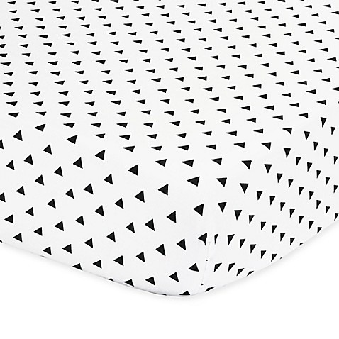 The Peanut Shell 174 Triangle Fitted Crib Sheet In Black