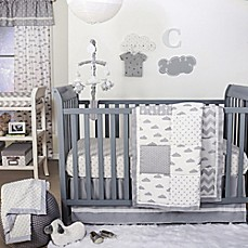 image of The Peanut Shell Cloud Patchwork Crib Bedding Collection in Grey