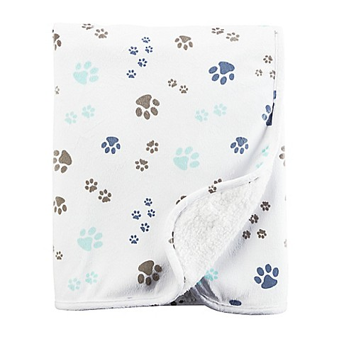 carter's® Puppy Paw Print Plush Blanket in White