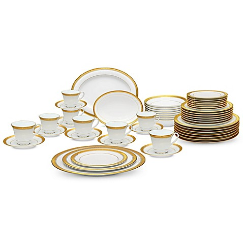 Noritakeu0026reg; Crestwood Gold 50-Piece Dinnerware Set  sc 1 st  Bed Bath u0026 Beyond : bed bath and beyond dinnerware sets - pezcame.com