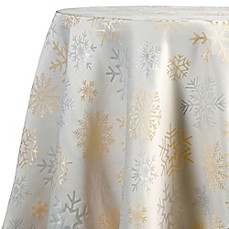 Image Of Shimmer Snow 70 Inch Round Tablecloth