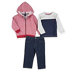 image of Nautica Kids® 3-Piece Fleece Jacket, Shirt, and Jean in Red