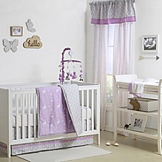 image of the peanut shell woodland crib bedding collection in purplegrey