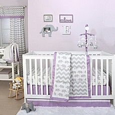 image of the peanut shell elephant crib bedding collection in greypurple