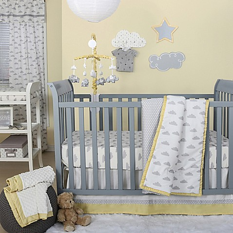 The Peanut Shell 174 Clouds Crib Bedding Collection In Grey