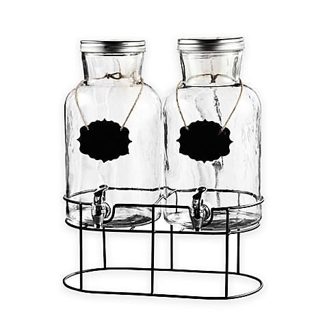 style setter blackboard glass beverage dispenser set with stand bed bath beyond. Black Bedroom Furniture Sets. Home Design Ideas